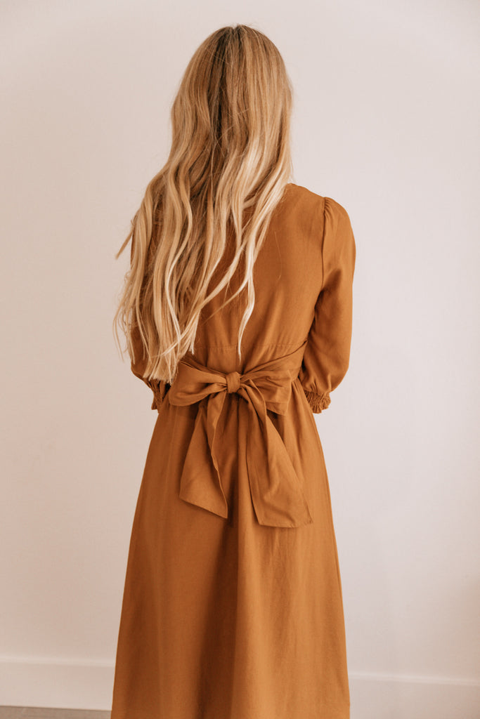 Camel Tie-Waist V-Neck Midi Dress