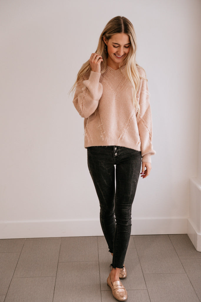 Mauve Fringe-Accent V-Neck Sweater