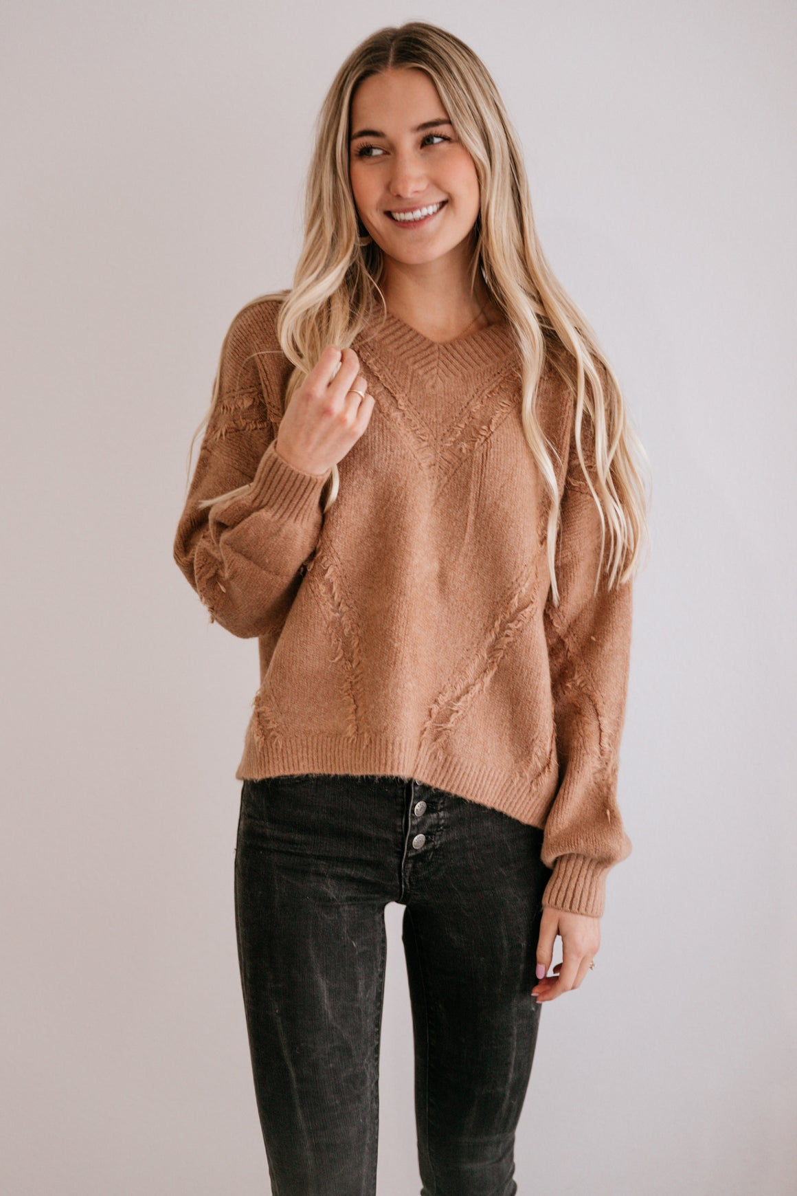 Mocha Fringe-Accent V-Neck Sweater