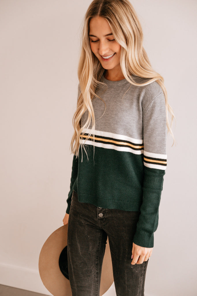Striped Contrast Crop Sweater