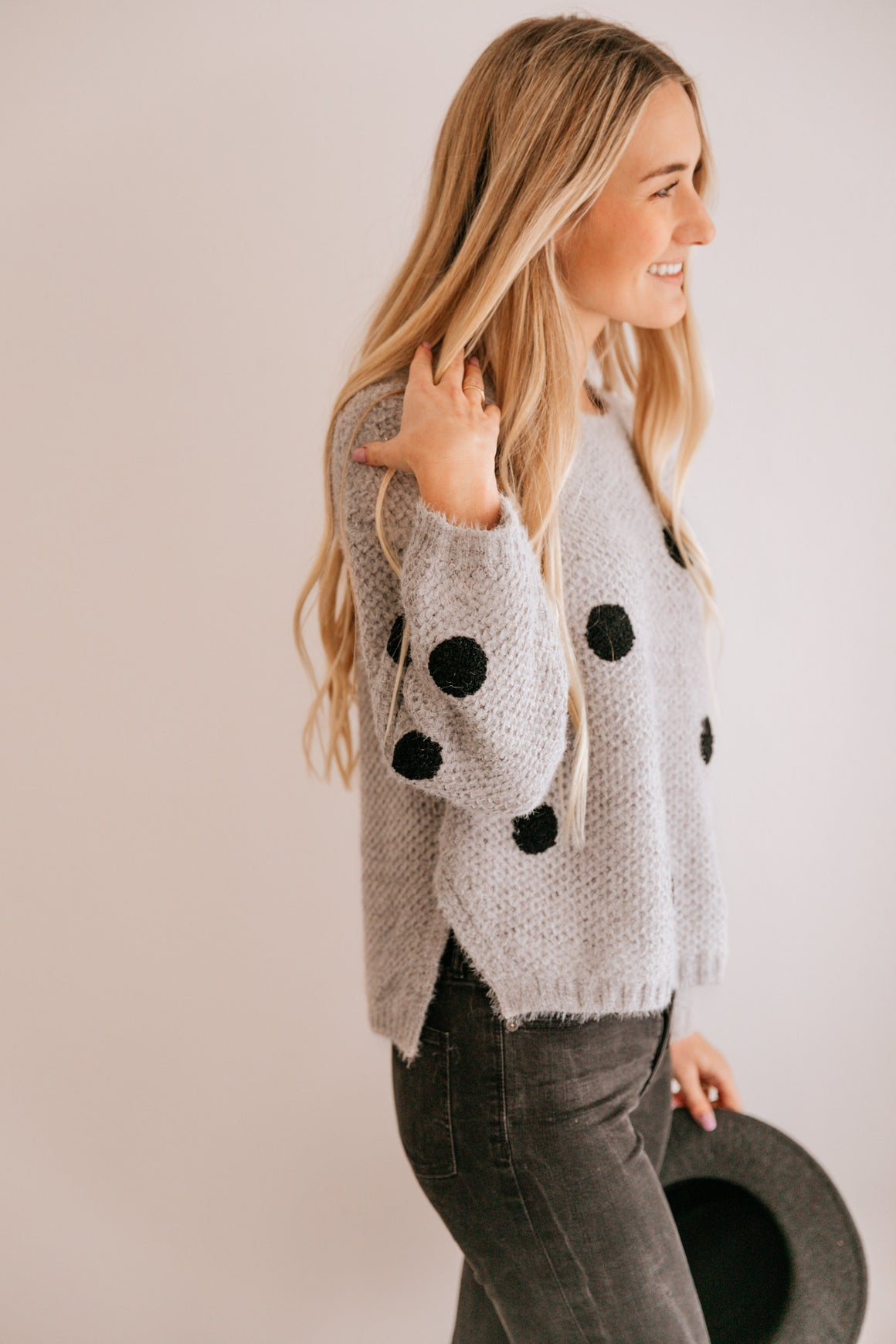 Silver & Black Polka Dot Drop-Shoulder Sweater