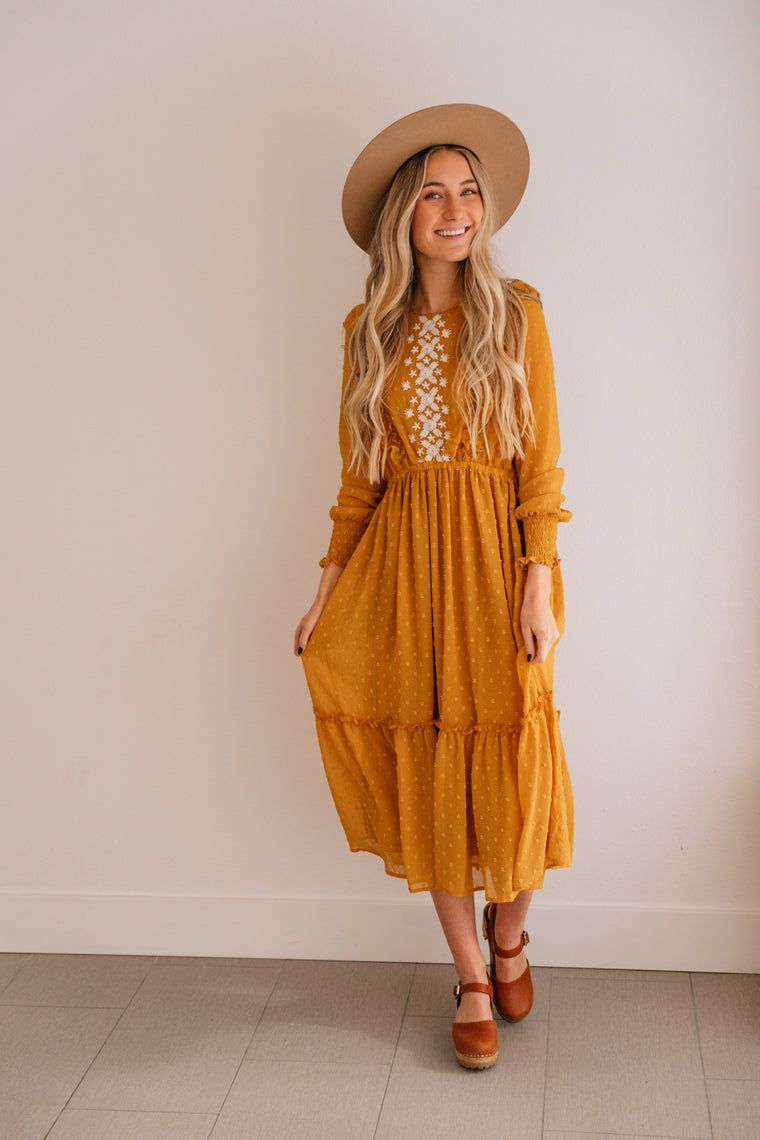 Goldie Dot Embroidered Dress