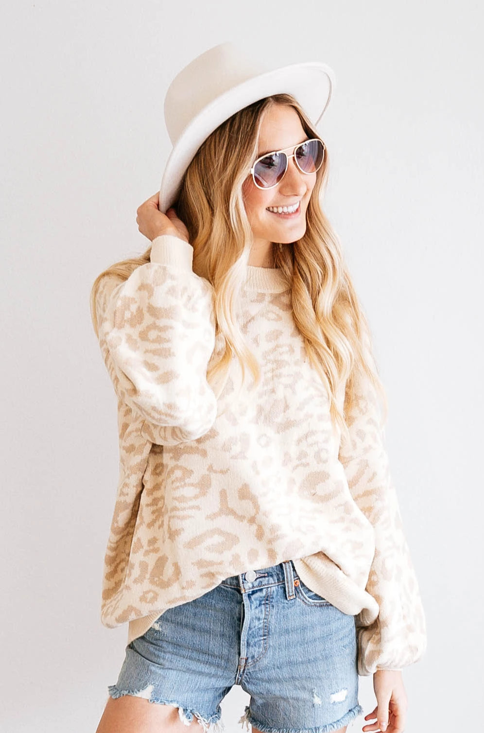 NATURAL LEOPARD SWEATER