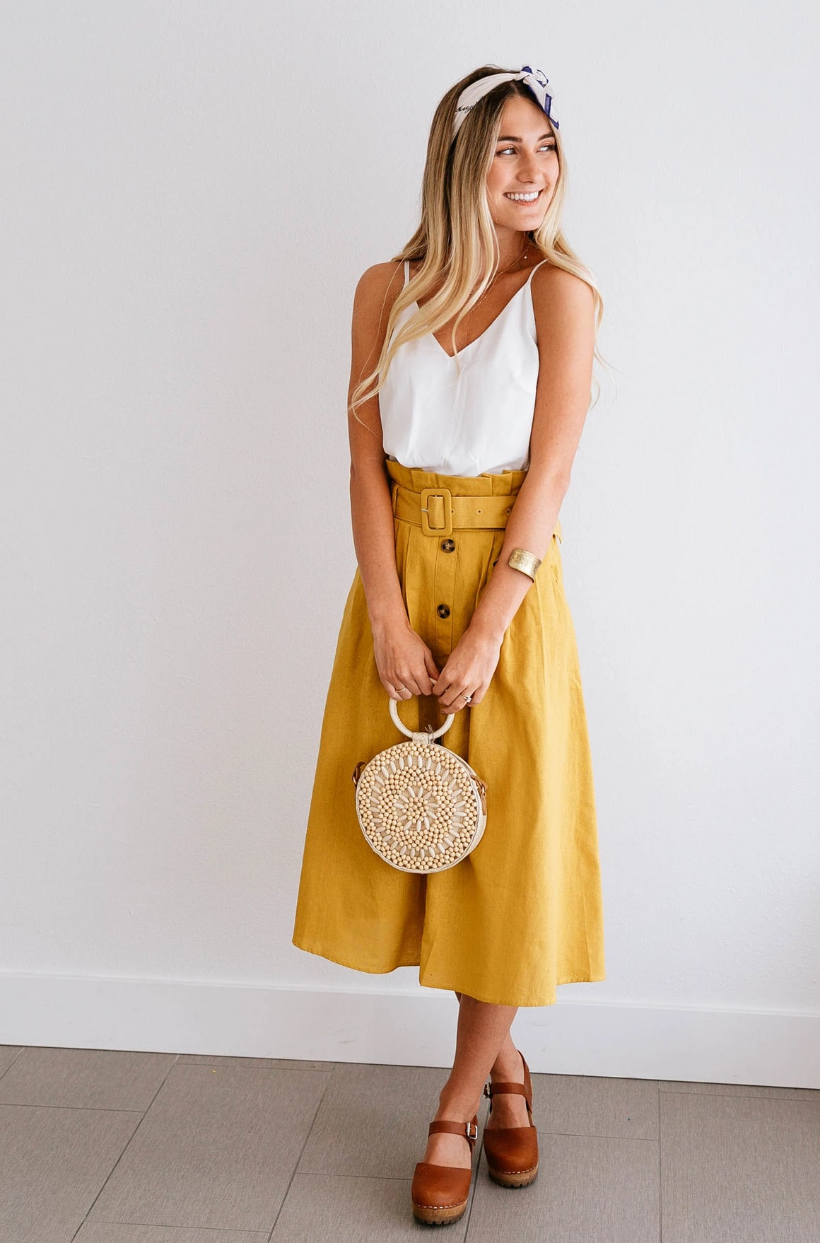 Mustard Pocket Button-Front Skirt