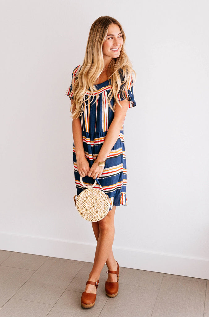WATERCOLOR STRIPED SWING DRESS