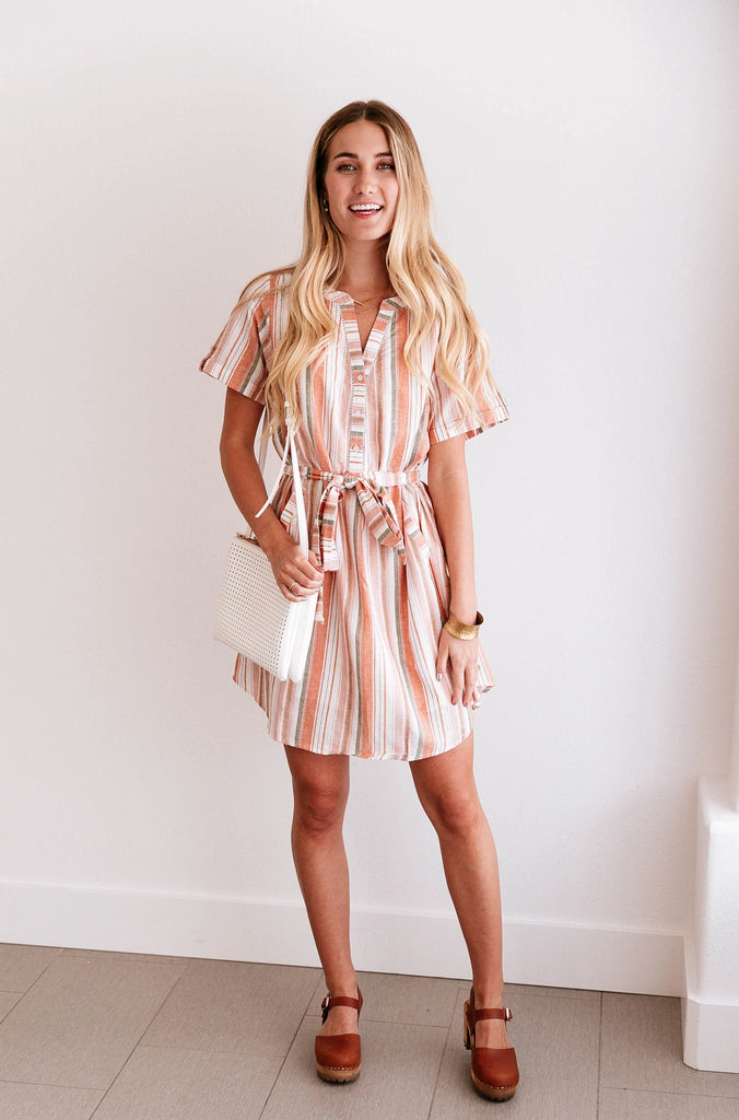 Coral Striped Shirt Dress