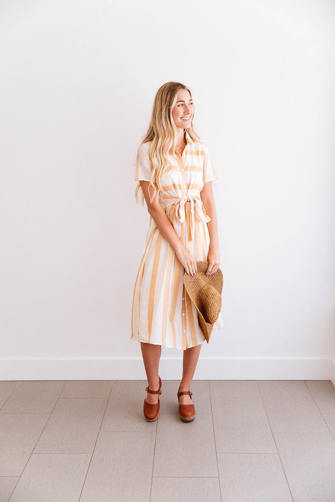 Peach Stripe Tie-Waste Shirt Dress