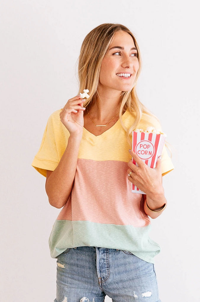 PASTEL COLOR BLOCK TEE
