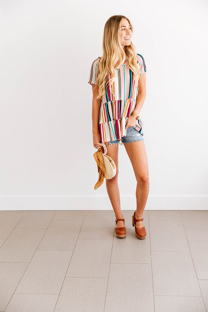 Striped Tiered Peplum Top