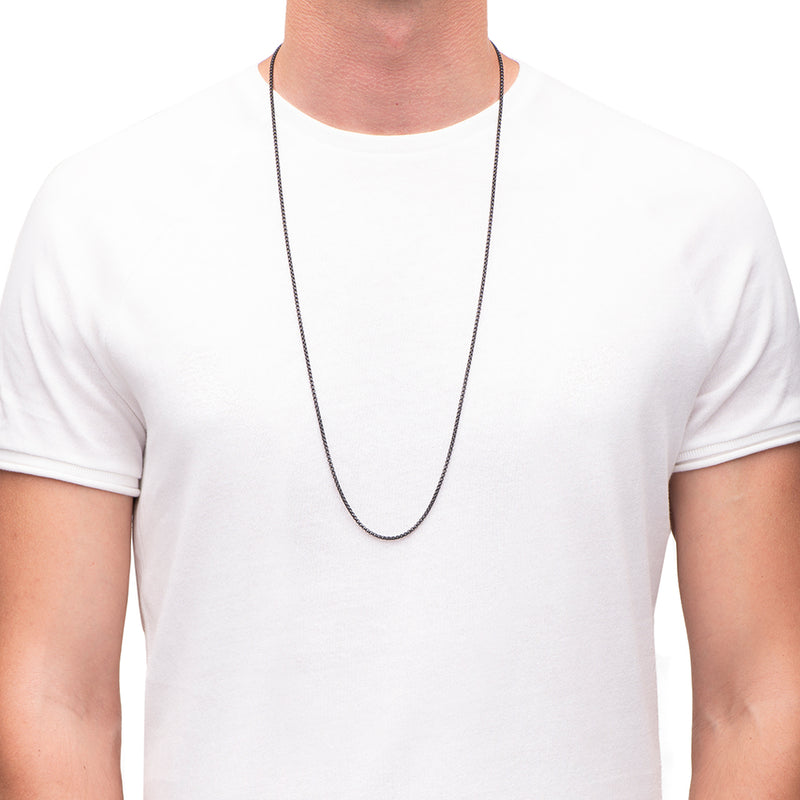 Men's Necklaces - The Rounded Box Chain 85cm - Matte Black - Preview