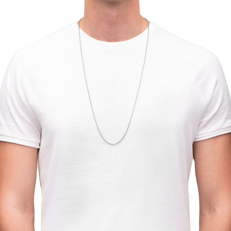 Men's Necklaces - The Rounded Box Chain 85cm - Silver - Preview