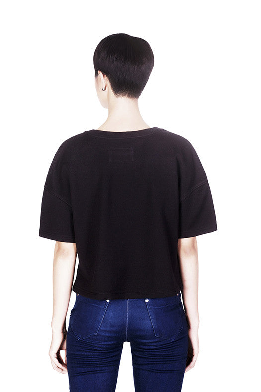 Crowea black sweater by Hanhny backview