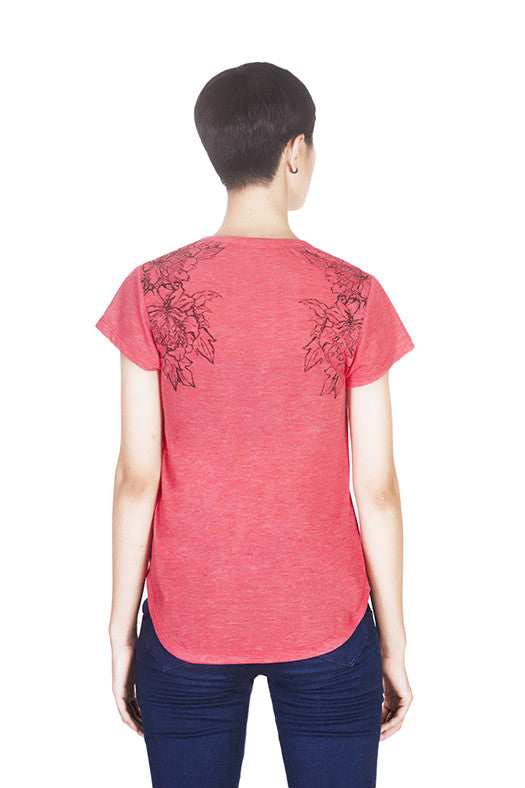 Back view of Mahonia T-shirt by Hanhny