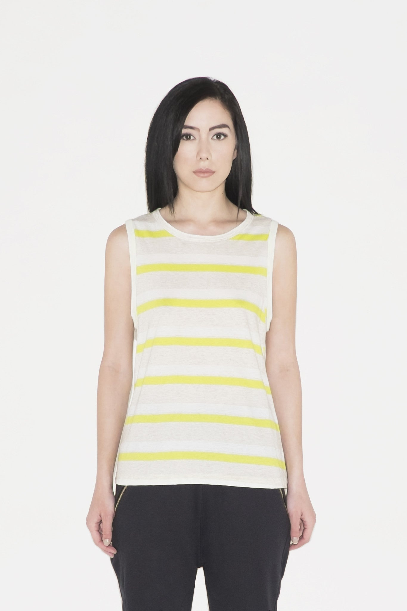 W Agate Twisted Back Tank (stripes)