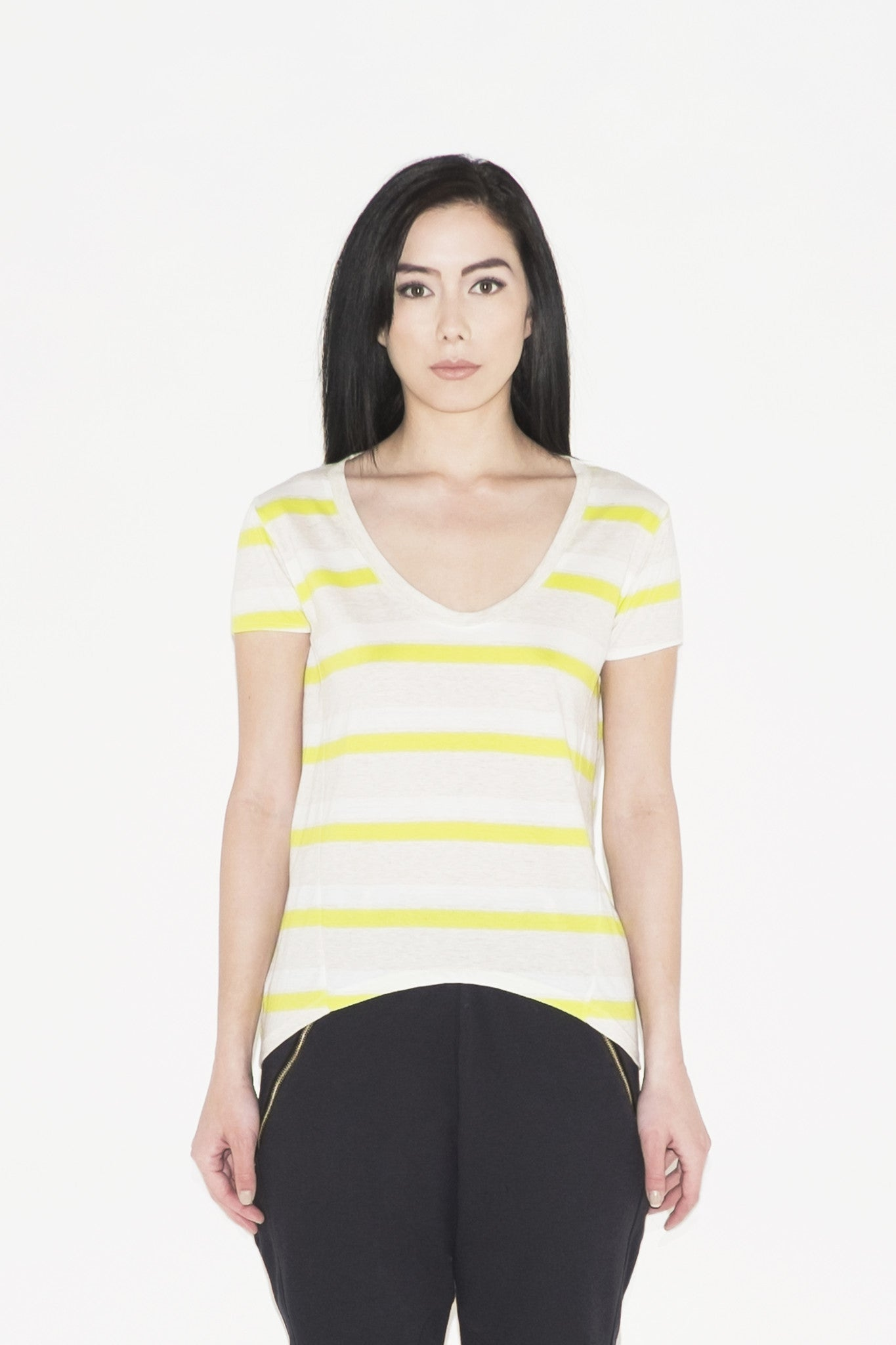 W Shaula Open Back Top (stripes)