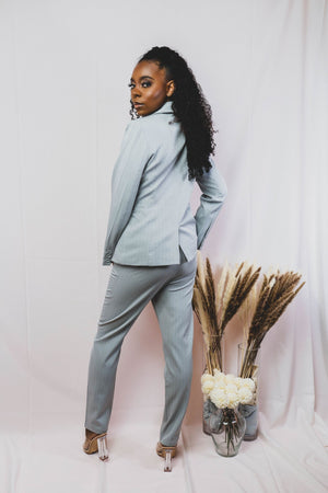 house of hanna grey pinstripe suit with asymmetrical blazer