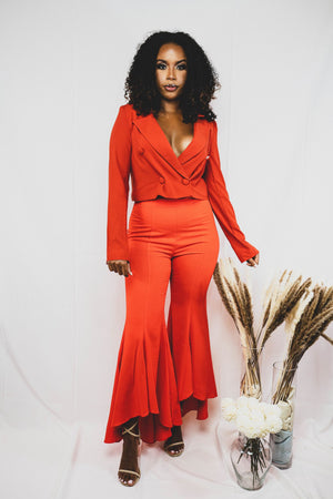 house of hanna two to tango hi lo ruffle orange trousers