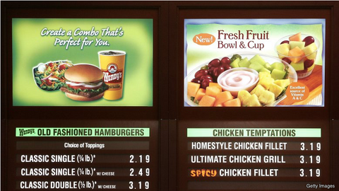 fast food menu display