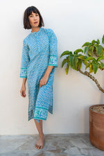 SZ Isle Frock in Bagru Stamp Print in Shale Blue & Pop Green