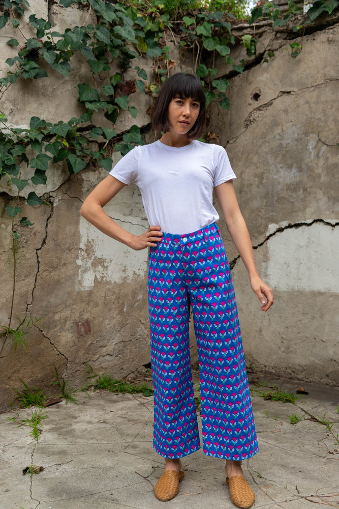 SZ Disco Pants in Waterlily Print in Gaze Blue & Hot Rose