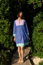 SZ Jaipur Dress in Waterlily Print in Gaze Blue & Hot Rose