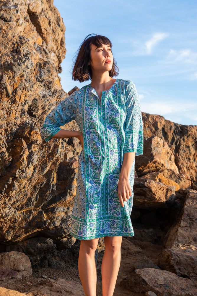 SZ Long Kurta in Bagru Print in Shale Blue & Pop Green