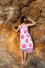 SZ Kath Dress in Palladio Stamp Print in Hot Pink & Fern