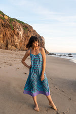 SZ Tier Dress in Lakshmi Print in Ocean Blue with Rose Flowers