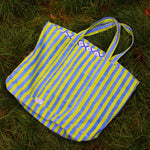 SZ Massive Canvas Tote in Thick Stripes in Lime & Nila Blue