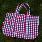 SZ Massive Canvas Tote in Turquoise & Hot Pink Gingham