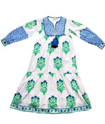 SZ Jodhpur Dress in Palladio Garden Print in Green & Blue