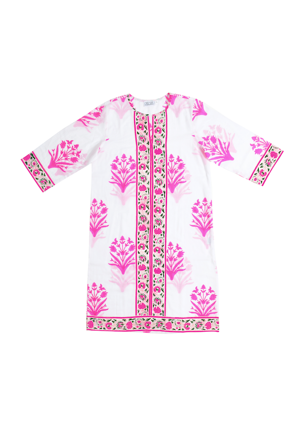 SZ Long Kurta in Palladio Stamp Print in Hot Pink & Fern