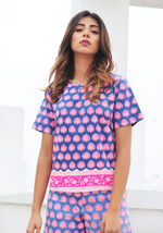 SZ Stretchy Tee in Bagru Stamp in Gaze Blue & Hot Pink