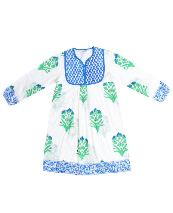 SZ Jaipur Dress in Palladio Garden Print in Green & Blue
