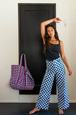 SZ Disco Pants in Blue Checkerboard
