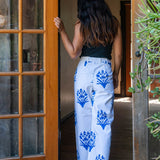 SZ Disco Pants in Palladio Stamp Print in Greece Blue