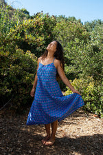 SZ Tier Dress Waterlily Print in Gaze Blue & Violet