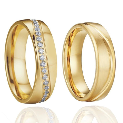 CZ Encrusted Gold Tone Titanium Ring Set