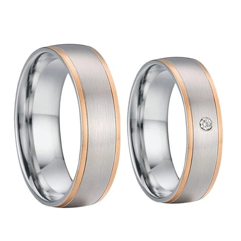 Single Zirconia Silver & Rose Gold Stainless Wedding Band Set