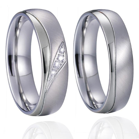 Silver & White Gold Stainless Ring Set