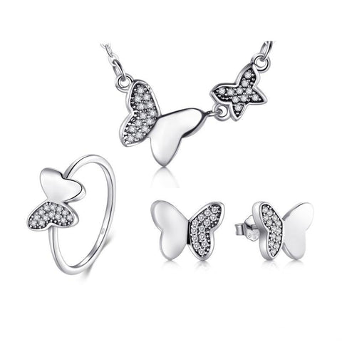 3PC Micro Pave Sterling Silver Butterfly Jewelry Set
