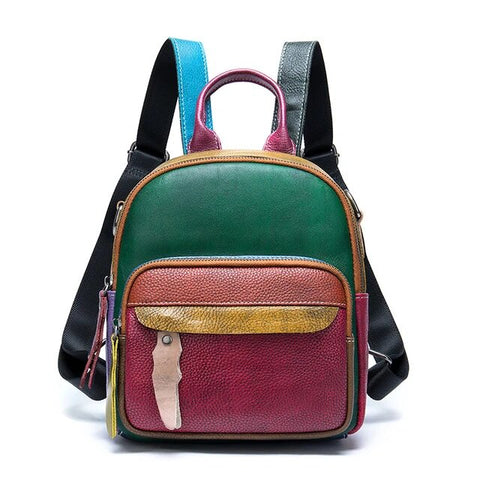 Multicolored Convertible Charming Leather School Bag for Ladies
