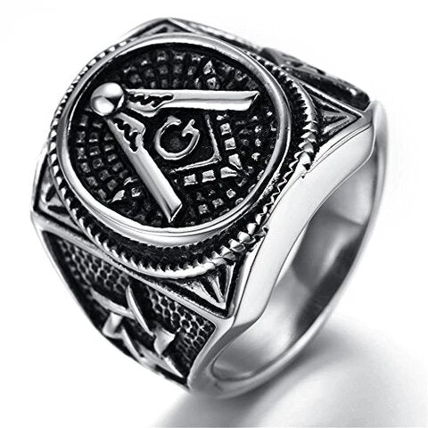 Men's Stainless Steel Silver Black Vintage Masonic Ring