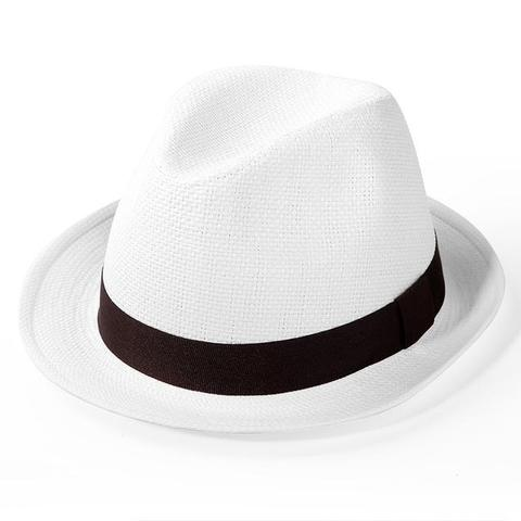 Black Hatband Reeded White Straw Hat