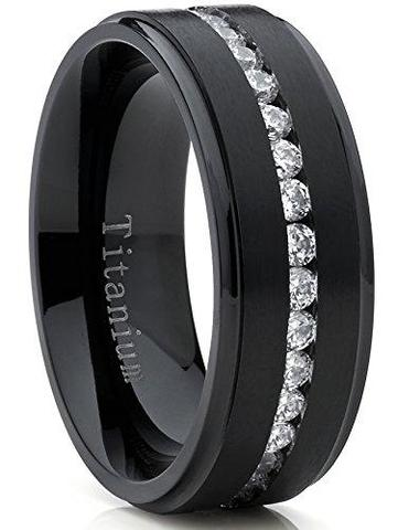Black White CZ Titanium Men's Wedding Ring