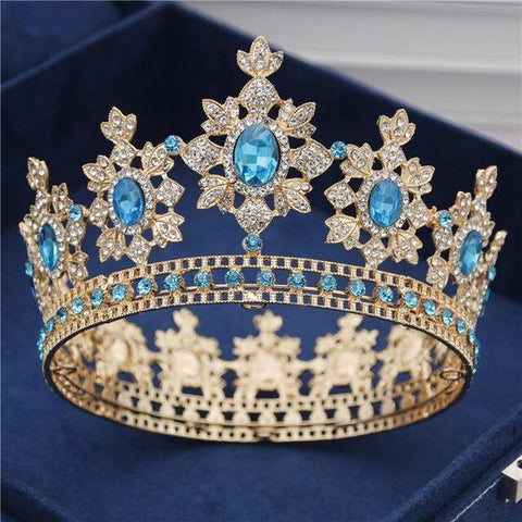 Vintage Royal Sky Blue Crown for Wedding or Prom