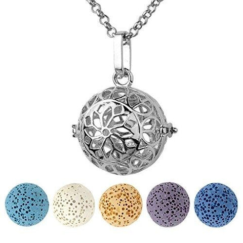 Antique Silver Locket Pendant Aromatherapy Diffuser Necklace