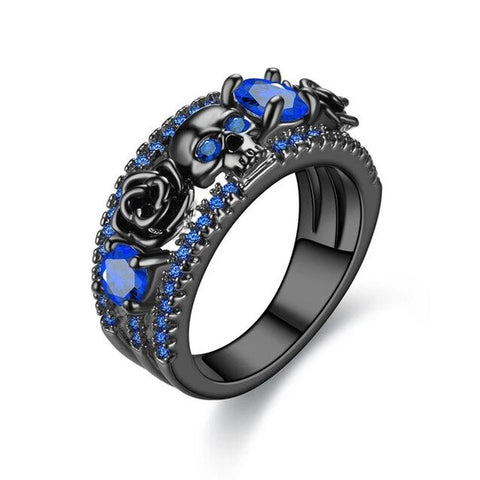 Black Floral Colored Cubic Zirconia Skull Band