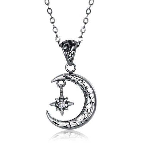 Crescent Moon North Star Sterling Silver Pendant Necklace