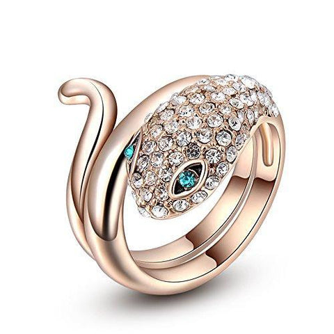 Bejeweled Coiled Snake Fashion Ring